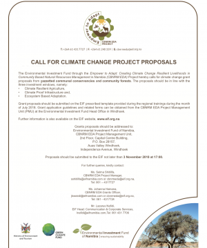 First Call for Climate change proposal underway