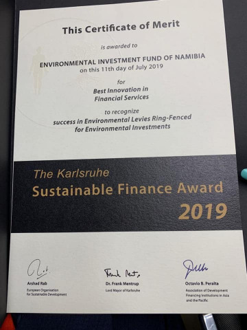 EIF scoops award at the Kalsruhe Sustainable Finance  Awards 2019